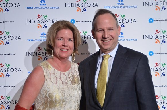 Gov. Jack Markell of Delaware, chairman of the National Demcratic Governor's Association, and the first lady of Delaware Carla Markell, at the Indiaspora 2013.
