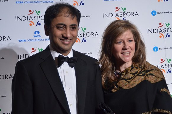American Enterprise Institute resident fellow Sadanand Dhume and his wife, Alyssa Ayres, who is the Deputy Assistant Secretary for South and Central Asia, at the Indiaspora 2013 Inaugural Ball at Mandarin Oriental in Washington, DC, Saturday, January 19. Photo by Global India Newswire/Shahi