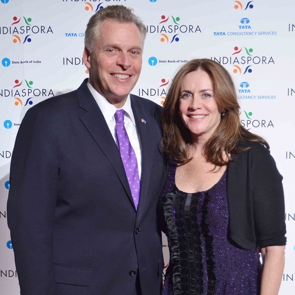 Democrat Terry McAuliffe, who is running for governor in Virginia, with his wife Dorothy at the Indiaspora 2013 Inaugural Ball at Mandarin Oriental in Washington, DC, Saturday, January 19. Photo by Global India Newswire/Shahi Prabhakaran.