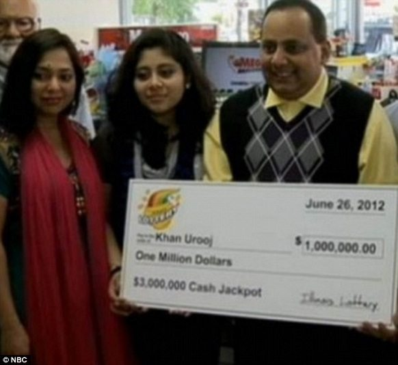 """urooj khan and his family with the one million dollar cheque"""