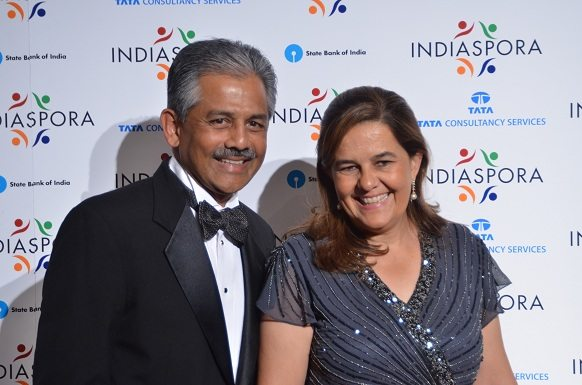 U.S. Ambassador to Belize Vinai K. Thummalapally and his wife, Barbara Thummalapally, at the Indiaspora 2013 Inaugural Ball at Mandarin Oriental in Washington, DC, Saturday, January 19. Thummalapally is first-ever Indian American ambassador. Photo by Global India Newswire/Shahi Prabhakaran.