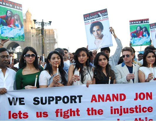 Anand Jon's sister Sanjana Jon (in center) has fought hard to get the Indian government involved in her brother's trial, but to no avail. Photo courtesy of Jon family.