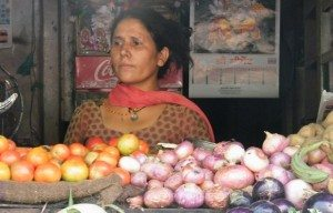 Tulsi Tewari at her vegetable shop in Kathgogam, Uttarakhand. Photo by Rakesh Agrawal.