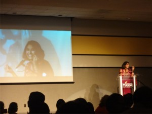 Sheela Murthy introduces her husband's short film.