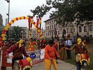 Dollu on the streets of Worcester. Photo by Venkatesh Raghavendra.