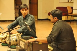 Tabla competition: (Left to Right) Souvik  Ghosh, Matthew Poovan.