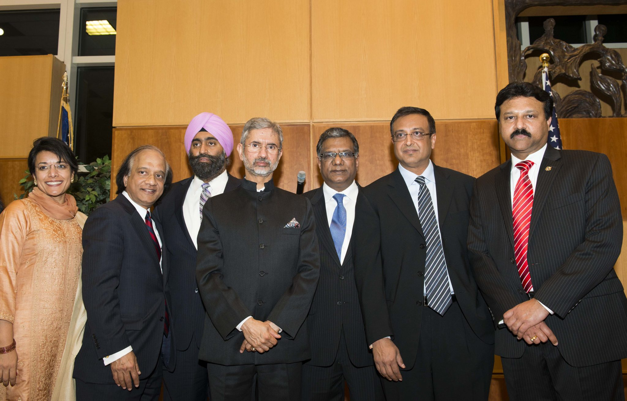 Ambassador S. Jaishankar (center) poses for picture with Indian American leaders at a reception given in honor of the Indian envoy in Potomac, MD, on Saturday.