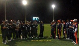 From left to right: the USF cricket team, commentator Lloyd Jodah, and the Auburn squad (courtesy of the ACC)