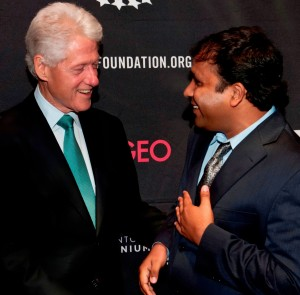 An undated photo of Deelip Mhaske meeting former US President Bill Clinton