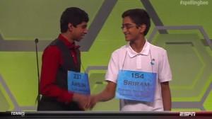 Ansun Sujoe (left) and Sriram Hathwar shake hands after winning the 2014 Scripps National Spelling Bee (courtesy of ESPN)