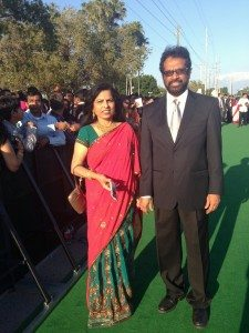 Thampi Antony with his wife Prema at the IIFA meet in Tampa. Insert pix in middle of story.