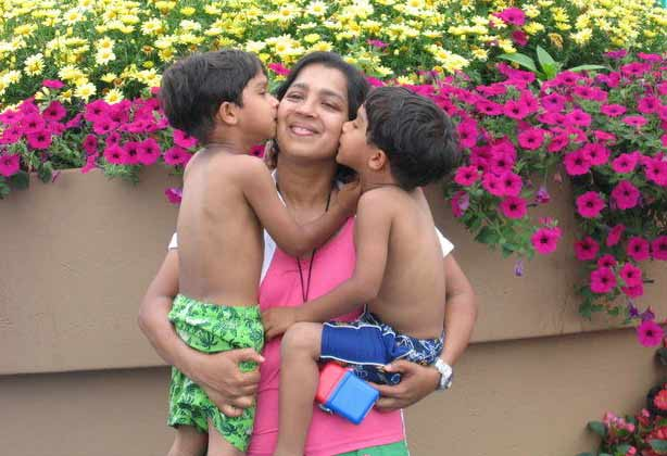 Bindu Philips with her twins sons. (Courtesy of Bindu Philips)