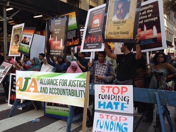 Protestors outside MSG