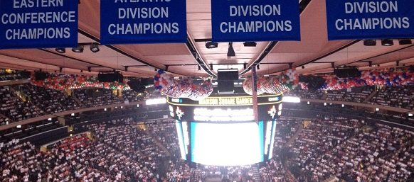 A panoramic view of the crowd inside Madison Square Garden.