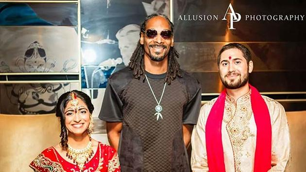 Caption for pix Snoop Dogg poses with newly married couple Neesha Ghadiali and Joseph Scheller at the Hard Rock Hotel in Chicago. (Courtesy of Allusion Photography).