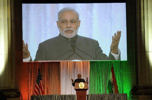 Modi speaking in Madison Square Garden.