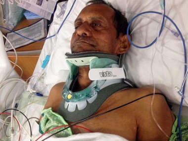 Sureshbhai Patel recovering in hospital (Courtesy of Twitter)