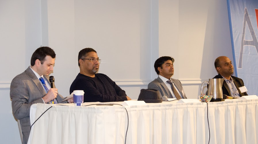 "State Bank of India-California Vice President Rokas Beresniovas (left), ZH Healthcare CEO Shameem C. Hameed (second left), GreenBrilliance Managing Partner Sumit Bhatnagar, and TechFetch CEO Praba Murugaiah (right) during the panel ""Bootstrapping and scaling: growing a business from ground to the top"" at the American Bazaar Entrepreneurship Summit on April 25, 2015."