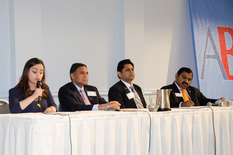 India.com Content Manager Trisha Sakhuja, Zantech CEO Zia Islam, eHealthObjects Inc. CEO Sanjay Mittal and ANGARAI founder & CEO Venkat Subramanian discuss government contracting at the American Bazaar Entrepreneurship Summit in Washington, DC, on APril 25, 2015.