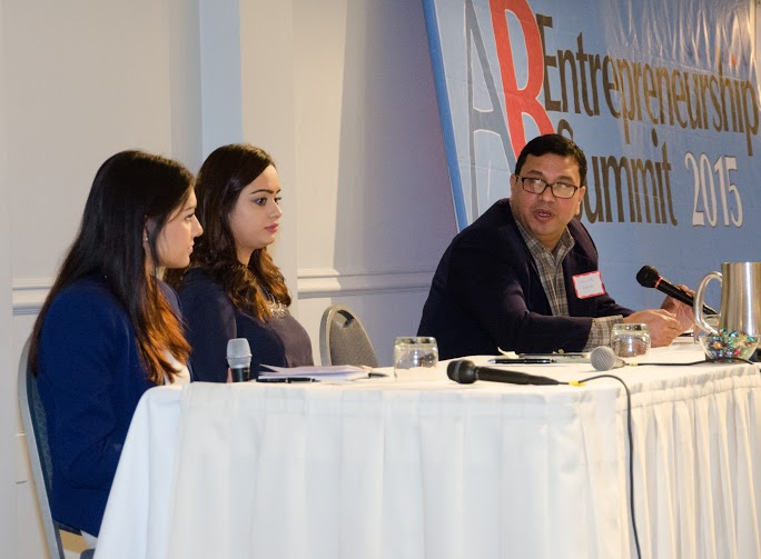 Shukoor Ahmed, founder and CEO of V-Empower, Inc speaks about leveraging social media and technology at the American Bazaar Entrepreneurship Summit on April 25. Also seen are panelist Trisha Sakhuja (center), Content Manager at India.com, and moderator Kamini Ramdeen, Editor of Brown Girl Magazine and Content Editor of India.com.