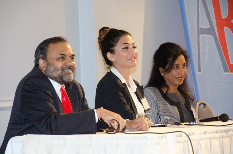 "Moderator Satyam Priyadarshy, Chief Data Scientist at Halliburton (left), Nadia Ayoubi (center), President of Hummingbirds Consulting, and Smita Siddhanti, president of EnDyna, during the panel ""Women in business: challenges and opportunities"" at the American Bazaar Entrepreneurship Summit on April 25, 2015."