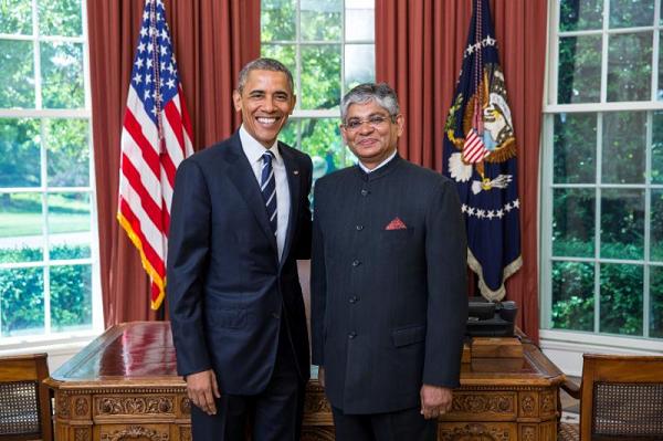 Ambassador Arun Kumar Singh with President Obama. Photo credit: Embassy of India in Washington