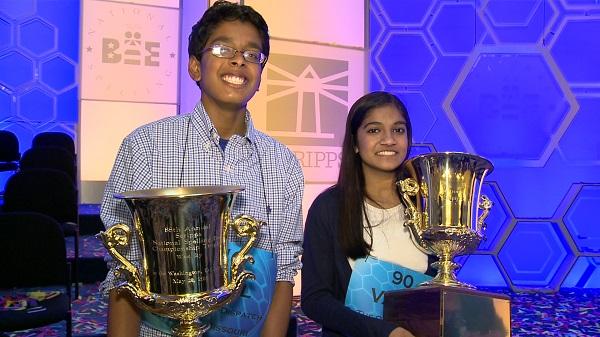 2015 Scripps National Spelling Bee co-champions Gokul Venkatachalam and Vanya Shivashankar. Photo by Bala Chandran