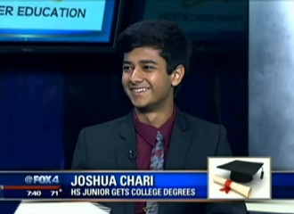 Indian American 16-year-old from Texas Joshua Chari to finish high school with 8 college degrees