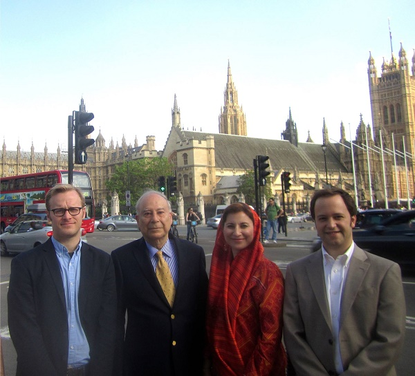 Journey Into Europe team members (from left to right) Harrison Akins, Akbar Ahmed, Dr. Amineh Hoti and Frankie Martin outside of the UK Parliament Building in London.
