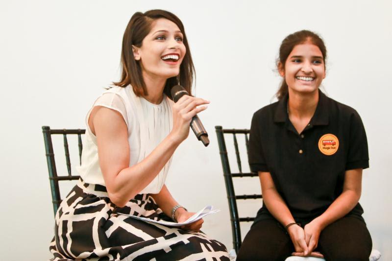 Girl Rising Ambassador Freida Pinto interviews student Sangita Pal