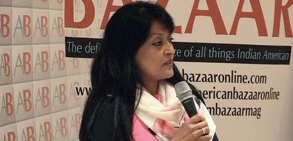Lata Krishnan delivering the second American Bazaar Philanthropy Lecture in Washington, DC, on October.