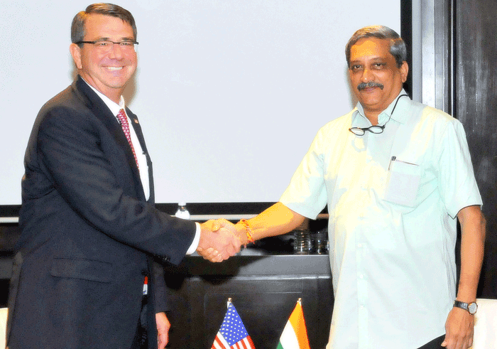 Indian Defence Minister Manohar Parrikar with his US counterpart  Mr. Ashton Carter