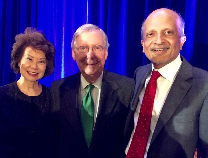 MR Rangaswami (right) with Elaine Chao and Mitch McConnell at the Asians in America Award Dinner in Washington, DC, on March 17, 2016.