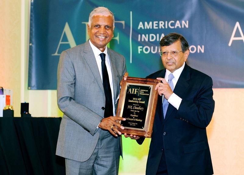 N.K, Chaudhary receiving the award from Prof. Jag Sheth at the AIF gala on April 2, 2016.