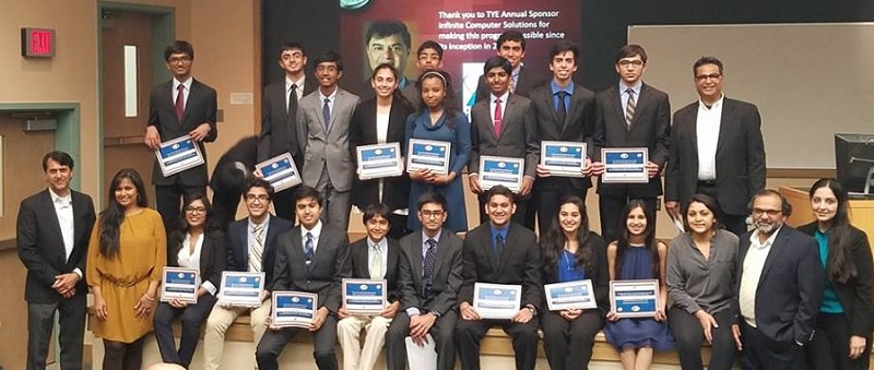 Students who attended TiE DC's boot camp with TiE DC President Dr. Satyam Priyadarshy (second from left, front row) and Dr. Mahesh Joshy (left, second row), who conducted the camp.