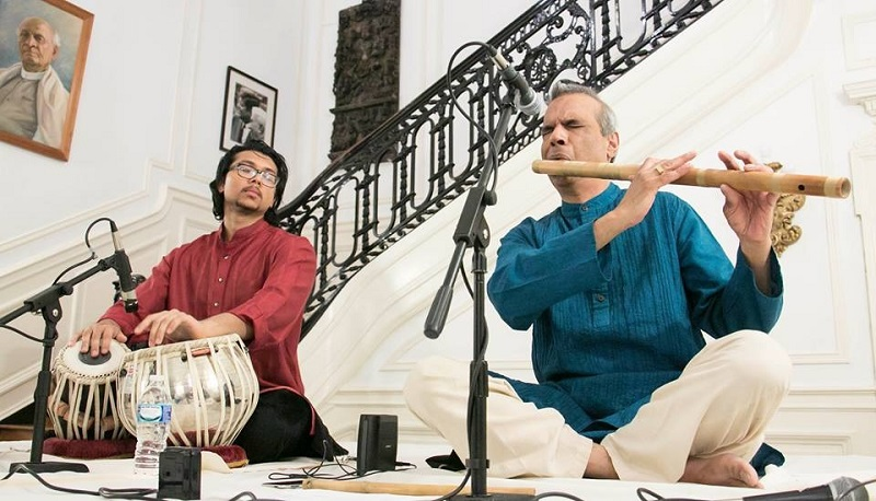 Deepak Ram (right) and Anirudh Changkakoti performing at the Embassy of India in Washington, DC, on April 29. Photo via the Embassy of India