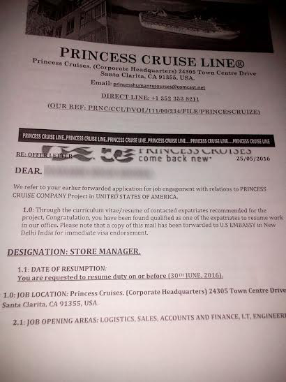 Job offer scam in india beware of fake employment letter from job offer scam in india beware of fake employment letter from princess cruise line in us was last modified june 1st 2016 by ab wire spiritdancerdesigns Choice Image