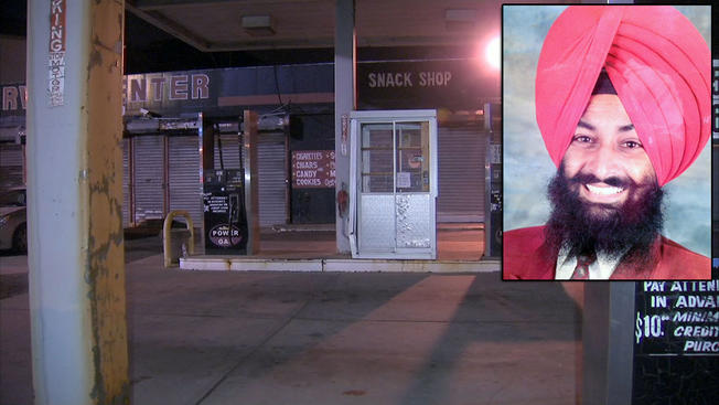 The Newark gas station where Davinder Singh, inset right, was shot to death Monday afternoon.