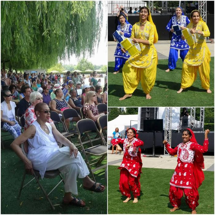 Scenes from the 2016 National Dance Day at the Kennedy Center in Washington. Among the distinguished speakers was Congresswoman Eleanor Holmes Norton (Democrat-DC), seated front left. At right are artistes of DC Bhangra Crew performing at the celebration.