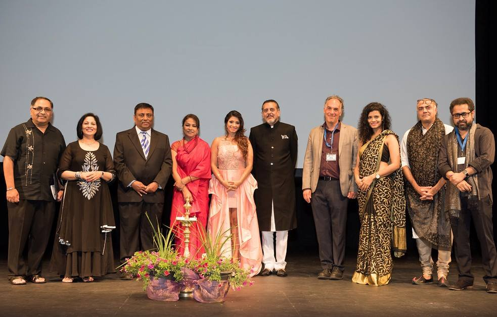 Celebrities on opening night at the fifth annual DC South Asian Film Festival (DCSAFF) organized by Manoj and Geeta Singh of Ceasar Productions. Fourth from right is Oscar winning director Jeffrey Brown, and fourth from left is international award-winning actress Seema Biswal, who were felicitated for indie film, 'Sold', an expose of child trafficking. Photo credit: Ceasar Productions