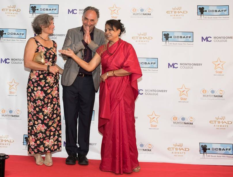 The 'Sold' team on the Red Carpet at the 2016 DC South Asian Film Festival (DCSAFF). Seen from left to right: Jan Waldman Brown, director Jeffrey Brown, and actress Seema Biswas. Photo courtesy: Ceasar Productions