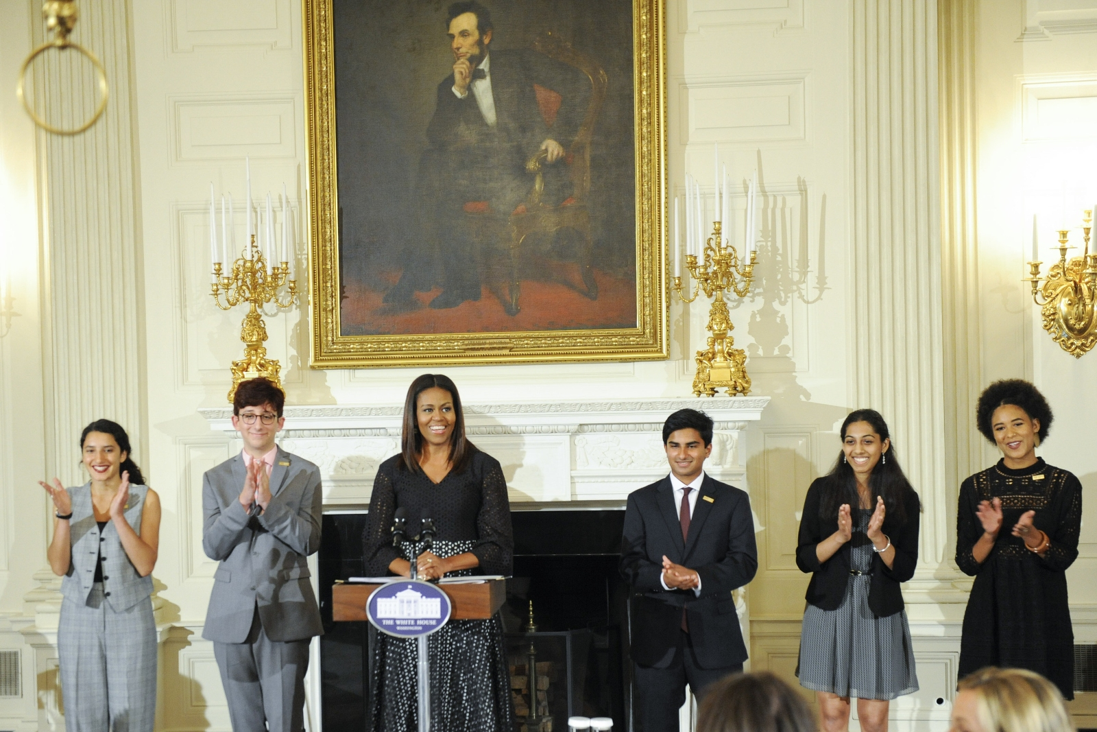 2016 class of National Student Poets with First Lady Michele Obama at White House ceremony (Courtesy of White House)