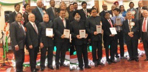 NFIA awardee with NFIA Board Members: Front Row from l. to r.: Dr. thomas Abraham, Sudip Gorakshakar, Jagdish Sharma, Vishwa Prasad, Dr. Harkeerat Singh Dhillon, Sunil singh, Prof. Ramulu Mamidala, Dan Nainan, Ashok Madan and Inder Singh. Back Ro, NFIA officers.