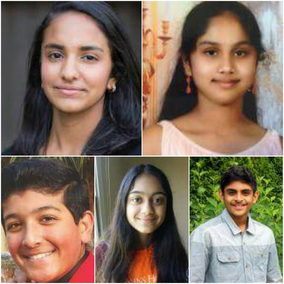 America's Young Scientist Challenge Finalists of 2016, from top, left to right: Meghna Behari; Maanasa Mendu; Rohit Mital; Mrinali Kesavadas; and Rohan Wagh. Photo courtesy: Discovery Education and 3M