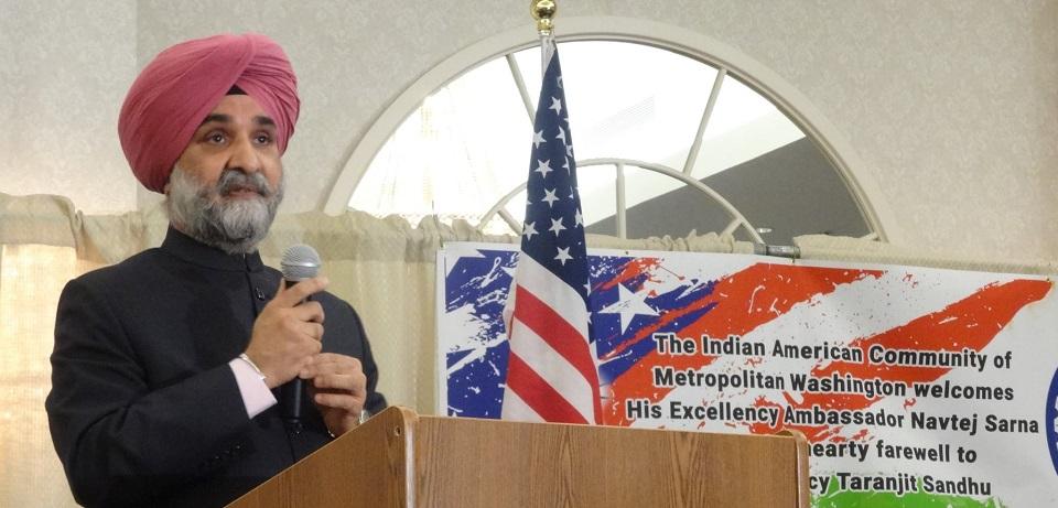 Ambassador Taranjit Singh Sandhu addressing the gathering. Photo by Geeta Goindi