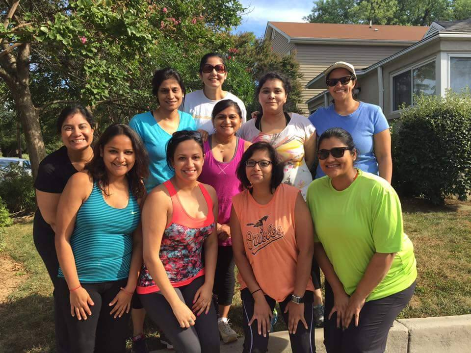Members of the Washington area Beautiful Brown Bodies group which encourages women of color to embrace fitness and a healthy lifestyle. Seen at top, second from right, is the group's creator Isha Setia.