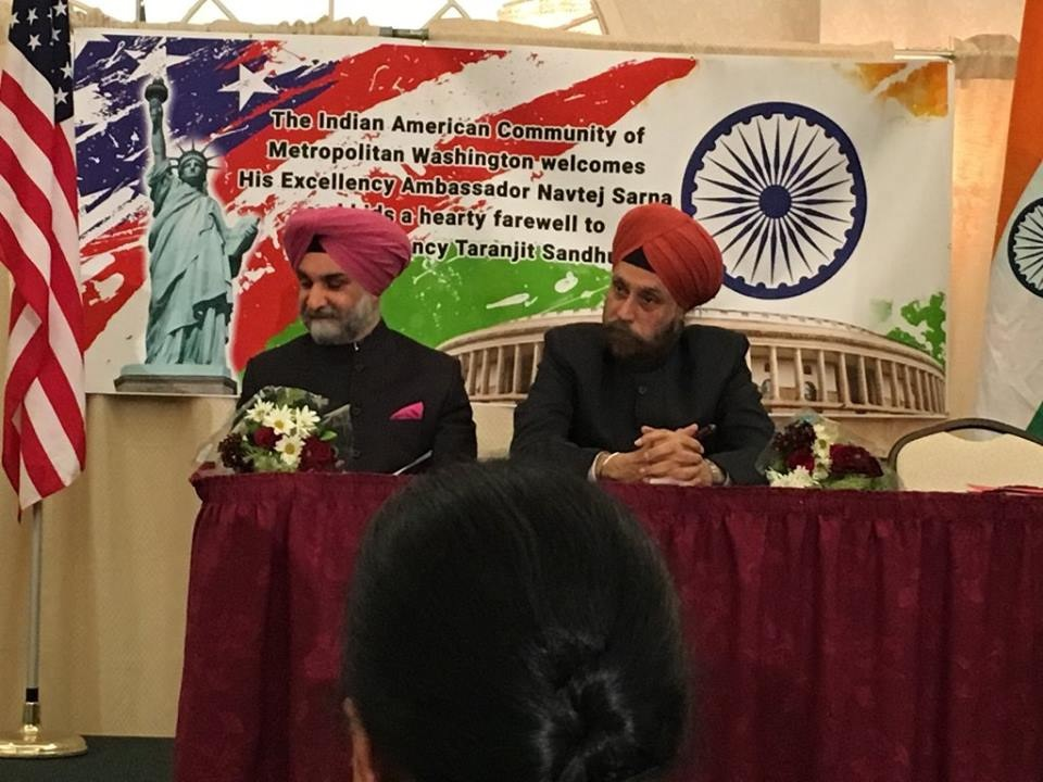 Outgoing Deputy Chief of Mission Taranjit Singh Sandhu (left) and the new Indian Ambassador to the United States Navtej Sarna at a community reception on Sunday. Photo by Surekha Vij