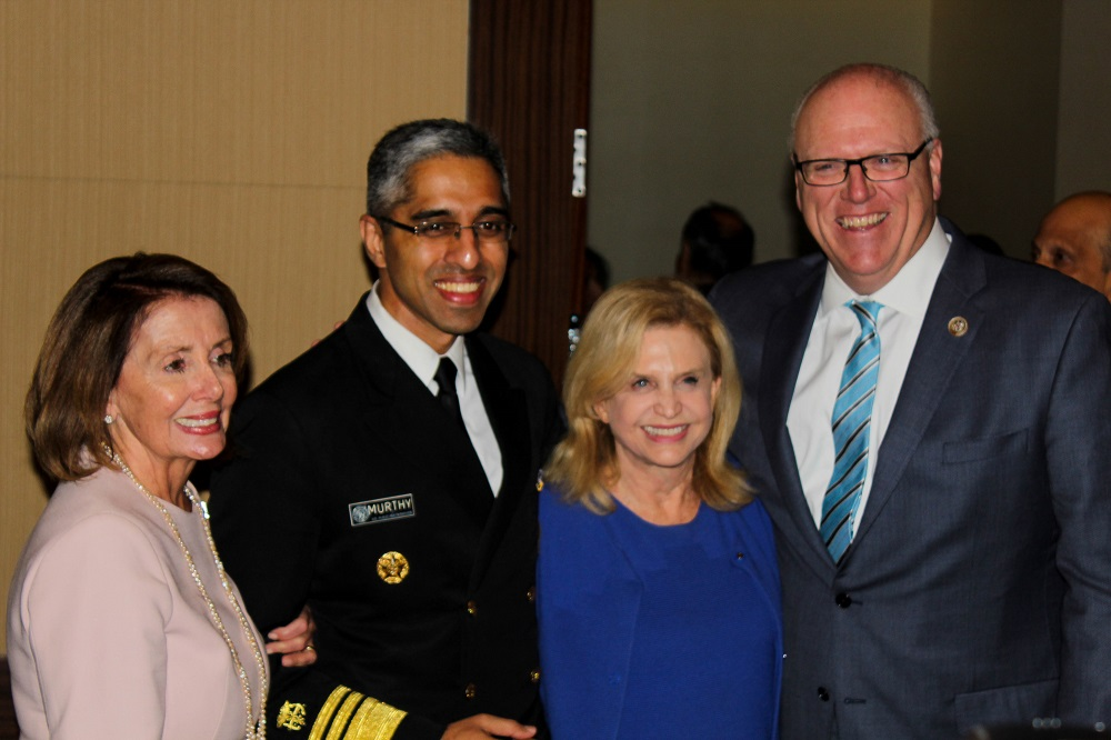 From left to right: House Minority Leader Nancy Pelosi, Surgeon General Vivek Murthi, Rep. Carolyn Maloney (D-NY) and Rep. Joseph Crowley (D-NY) at the Indiaspora gala held in Washington, DC, on January 2003, 2017. Photo: The American Bazaar