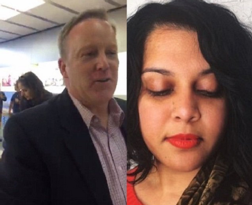 Image result for US Press Secretary, Sean Spicer, was harassed by an Indian-American woman, Shree Chauhan