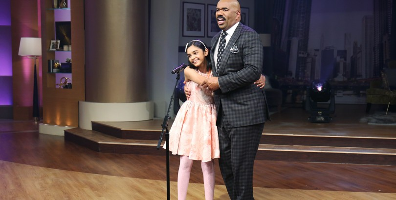 Indian American prodigy Tiara Abraham performs on Steve Harvey Show